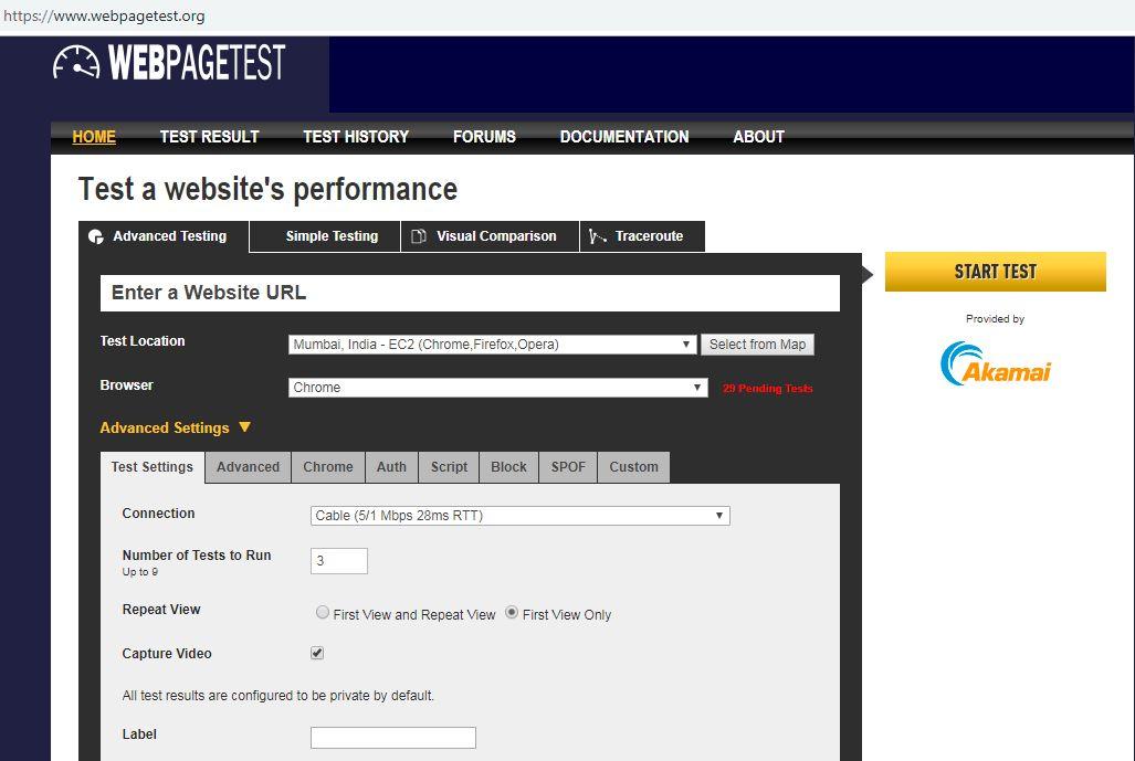 Webpage Test